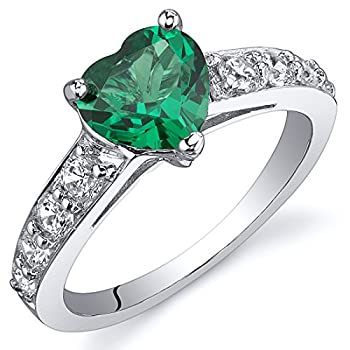 Peora Simulated Emerald Heart Promise Ring in Sterling Silver 1 Carat Comfort Fit Size 9