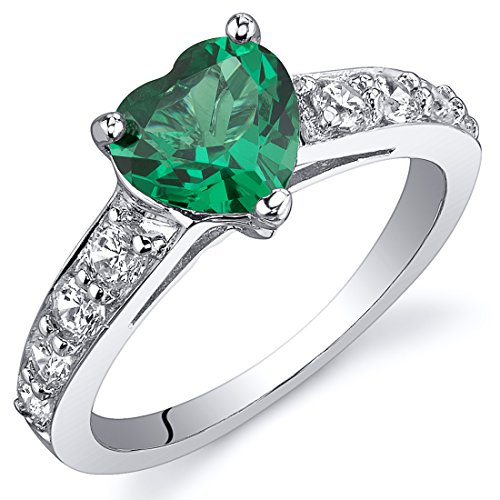 Peora Simulated Emerald Heart Promise Ring in Sterling Silver, 1 Carat, Comfort Fit, Size 8