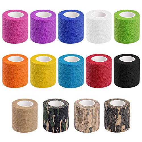 14 PCS Athletic, Sports wrap Tape & Bandage Wrap Stretch Self Adherent Tape for Wrist, Ankle, 2 Inch X 4.92Yard Per Roll