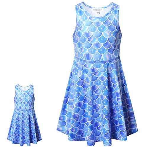Vestido de Unicórnio da Perfashion para Meninas e Bonecas Sem Mangas para Festa de Verão, Sleeveless Mermaid X23, 6-7 anos