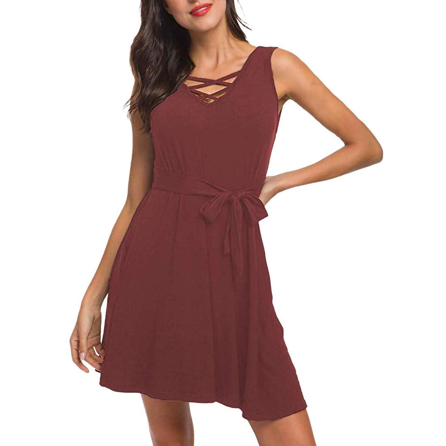 Peigen Women's Summer Dresses Casual T Shirt Dresses V Neck Lace Up Criss Cross Swing Beach Dresses with Pockets