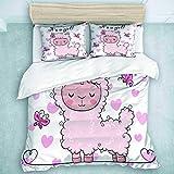446 HBGDFNBV - Juego de funda de edredón para cama de matrimonio, 3 juegos de cama con tarjeta de felicitación de baby shower con alpaca rosa, juego de ropa de cama decorativo para dormitorio