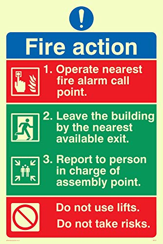 Viking Signs MF327-A4P-PV Pictorial Fire Action Sign, Sticker, Foto luminescent, 300 mm H x 200 mm W