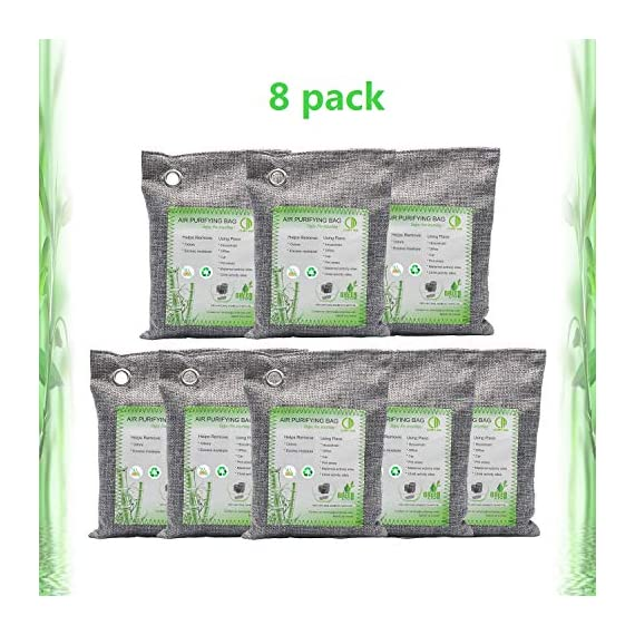 Activated Bamboo Charcoal Bags, Natural Air Purifying Fresheners,Moisture Remove for Home, Car, Closet, Bathroom (8 x… 1 NATURAL AIR PURIFIER-->>100% activated bamboo charcoal contains millions of tiny porous holes that naturally absorb and eliminate odors. This makes bamboo charcoal the perfect natural air freshener and odor remover. SAFE-->>Our activated charcoal air purifier bags are safe and effective, which has no fragrance or chemicals. They can purify your space air in the most natural, 100% safe way! It absorbs moisture and unpleasant odors like a sponge. These natural bamboo charcoal deodorizers are sure to be safe and you can leave it around your pets and your children while no worry for any incidents that might jeopardize their health. WIDE APPLICATIONS-->>The bamboo activated charcoal odor absorber bags has deodorizing and dehumidifying functions and which makes them work efficiently at any time and any place. It can be used in car,gym bag,smelly shoes,pet areas,bedroom,bathroom and fridge. Put the activated charcoal bag in these places, and it can absorb moisture or stink smell quickly and keep air fresh.