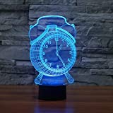 YKL World 3D Illusion Lamp Alarm Clock LED Night Light Touch Control 7 Colors Changing Table Lamp Bedroom Bedside Decor Lighting Christmas Birthdays Gifts for Boys Girls Toys