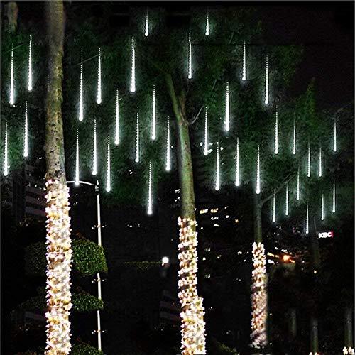 Devancy LED Meteor Shower Rain Lights, Falling Rain Lights 11.8in 8 Tubes Waterproof Snow Falling Raindrop Icicle String Light for Garden Party Wedding Christmas Tree etc (White)