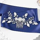 Fairvir Perle Hochzeit Haarkamm Gold Blatt Braut Kopfschmuck Blume Braut Haarschmuck für Frauen und Mädchen