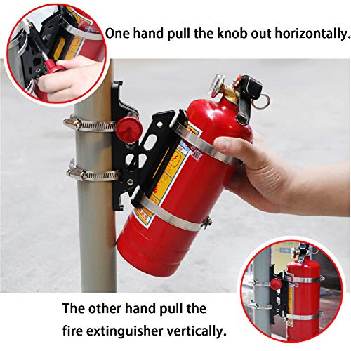 KOLEMO Upgrade Aluminum Quick Release Adjustable Roll Bar Fire Extinguisher Mount Holder with 8 Clamps for Jeep Wrangler UTV RZR Home and Office etc
