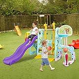 6 in 1 Kids Slide and Swing Set,Toddler Climber Slide Playset with Basketball Hoop,Baby Swing Freestanding Slide w/Football, Kindergarten Backyard Playground w/Baseball (Multicolour, US Stock)