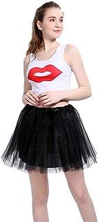 LOOHAOC Donna Balletto per Adulti Tutu Stratificata Organza Lace Minigonna Principessa Petticoat Classico Elastico 4 Strat...