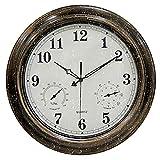 BLKJ Relojes Impermeables al Aire Libre del jardín, Reloj de Pared al Aire Libre silencioso Vintage con termómetro y Combo higrómetro 18 Pulgadas Relojes al Aire Libre de Metal Fuera de los Relojes