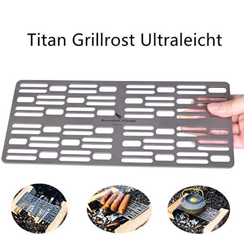 ZYVoyage Titan Grill-rost Ultralight Campinggrill Kleiner BBQ Net Roste Kompakt Grillrost Tragbar 25 cm * 11cm,142 g -TI1598B