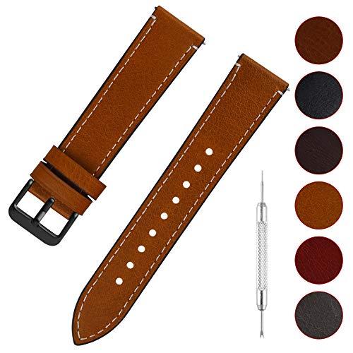 Fullmosa Uhrenarmband Leder mit Schnellverschluss, Wax Oil Serie in 20mm,Hellbraun+Rauchgraue Schnalle