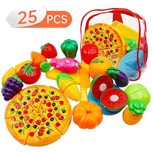 Ubitree 25 Sück Kinder Küchenspielzeug Schneiden Lebensmittel Obst Gemüse Spielzeug, Spiel Essen Set für Kinder, Pädagogisches Lernen Spielzeug Rollenspiele