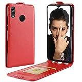 HualuBro Huawei Honor 8X Hülle, Premium PU Leder Leather HandyHülle Tasche Schutzhülle Flip Hülle Cover für Huawei Honor8X / Honor View 10 Lite (Rot)