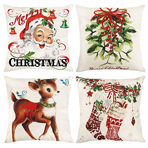 DelicateLife Christmas Pillow Covers, 18x18 Inches Set of 4 Xmas Series Throw Cushion Cover Case Retro Farmhouse Christmas Decorations Cotton Linen Square Pillowcase for Home Sofa Couch Car