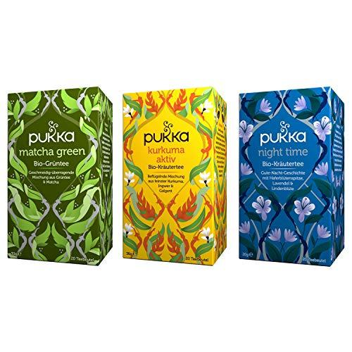 Pukka Bio-Tee Set, Teeauswahl für den ganzen Tag mit den Teesorten Matcha Green, Kurkuma Aktiv und Night Time. Auswahl an Bio-Kräutertees, 100% bio,fair und nachhaltig (3 Teepackungen à 20 Teebeutel)