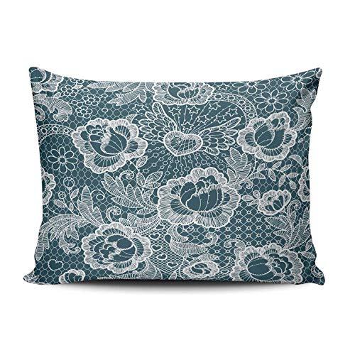 RGEMK Home Decor Sofa Pillowcase Cushion Cover Abstract Retro Elegant Rose Grid Throw Pillow Case Hidden Zipper One Side Printed Standard Size 20 x 26 Inch