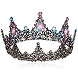 Coucoland Vintage Baroque Bridal Crown Wedding Queen Tiara for Women Colorful Rhinestone Birthday Crown (Colorful)