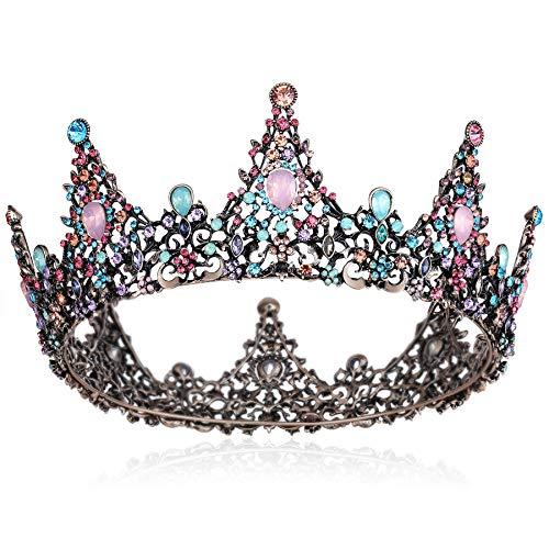 Coucoland Corona barroca reina para novia con estrás, tiara de boda, corona de princesa, corona de cumpleaños, para mujer, Halloween, carnaval, accesorios Stil2 – multicolor. Talla única
