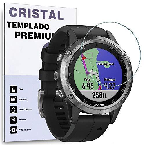 REY Protector de Pantalla para Garmin Fenix 5 47mm / Fenix 5 Plus 47mm, Cristal Vidrio Templado Premium
