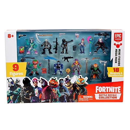 Fortnite 36516 Battle Royale Mini Figuren Mega Pack, Spielset Mit 9 Aktionfiguren Und 18 Waffen Und Ausrüstungsgegenstände, Aktionspielset Für Fans Ab 8+, Mehrfarbig