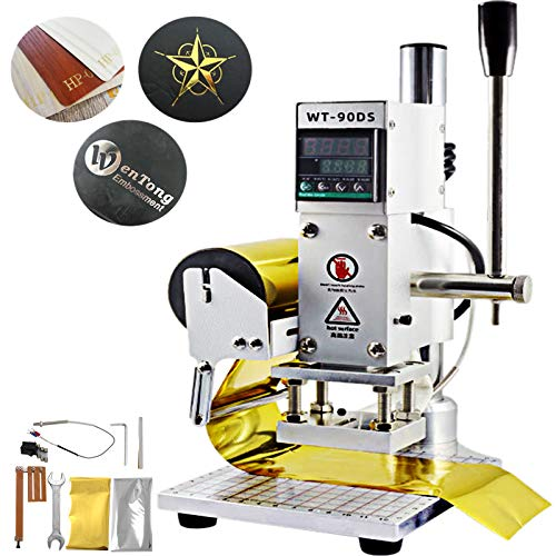 VEVOR Upgraded Hot Foil Stamping Machine 8x10cm Leather Bronzing Pressure Mark Machine 110V with Full Scale on The Base Plate for PVC Leather PU Paper Logo Embossing
