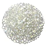 WAYBER 1Lb/460g Irregular Sea Glass Stones Artificial Crystal Gem Pebbles for Aquarium/Turtle Tank/Terrarium/Flowerpot/Vase Landscape Ornament Decoration White Clear