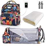 SNDMOR-Mochila para pañales de bebé de gran capacidad, para cuna de viaje, plegable, organizador de mochila para pañales de cuna multifuncional con cambiador de pañales(color Camuflaje)