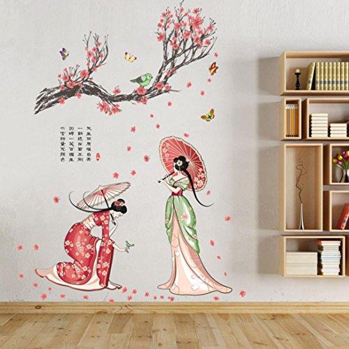 Wandtattoo von CHSHE Blüten- und Frauen-Motiv aus der chinesischen Tang-Dynastie wieder entfernbar für Zuhause Wandsticker Wandkunst Heimdekor fürs Wohnzimmer Schlafzimmer TV-Hintergrund