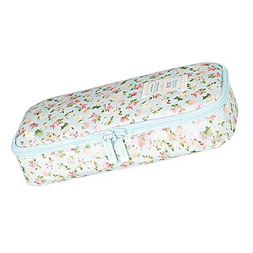 butterem Fleurs nylon grande boîte à kapazitäts Crayon Ressort Sacs Sacs hospitaliers cas verfassungs cosmétiques sacs pour fille stundents, bleu (bleu) - ZUMU00002920