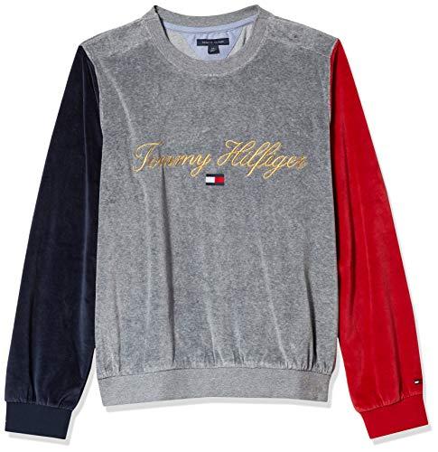 Tommy Hilfiger Damen ADP W Archive Emerson CB Velour PO Sweatshirt, Grey Heather, Medium