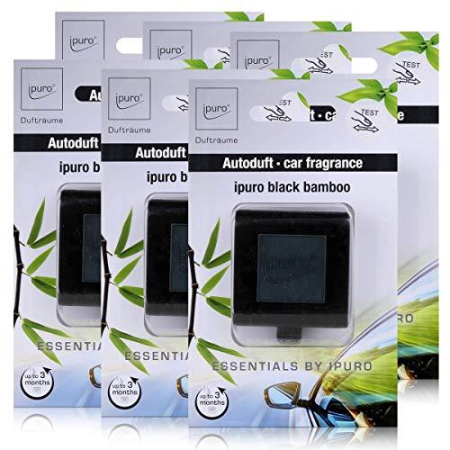 Essentials by Ipuro Car Line Autoduft black bamboo - Kräftig, grüne Frische vereint mit einer holzigen Nuance – ein herb-frischer Duft (6er Pack)