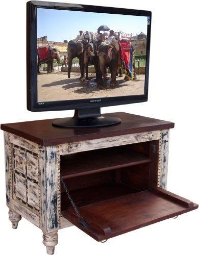 Guru-Shop Kleine Plasma TV Box in Koloniale Stijl TV Tafel - Wit, 50x70x40 cm, Ladekasten Dressoirs