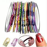 Goliton 32 Mischfarben Rolls Striping Klebeband Linie für Nagel Kunst Dekoration Aufkleber DIY Tipps