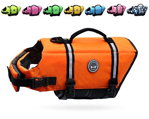Vivaglory Ripstop Dog Life Jackets, Reflective & Adjustable Dog Life Vests for Swimming Boating & Canoeing, Bright Orange, Medium