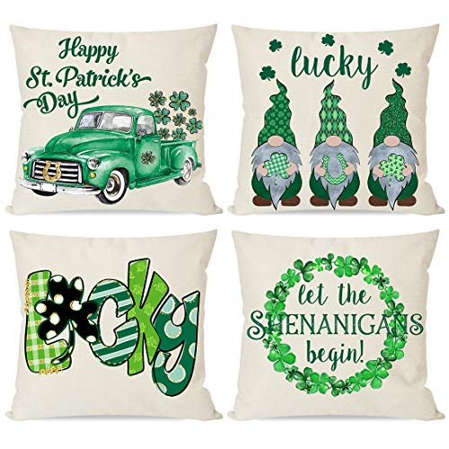 PANDICORN Set of 4 St Patricks Day Pillow Covers 18x18 for St Patricks Day Decorations St Patricks Pattys Day Green Truck Shamrock Luck Wreath Gnome St Patricks Day Home Decor Throw Pillow Cases
