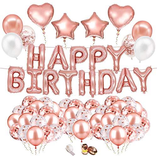 MOULLY Globos de Cumpleaños Oro Rosa,  Decoración de Cumpleaños en Globo Oro Rosa,  Guirnalda de Globos Happy Birthday,  Globus de Confeti,  Set de Decoraciones para Fiestas de Niñas y Mujeres