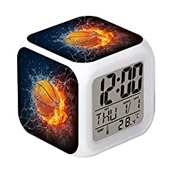 Cointone Led Alarm Clock Basketball Fire Sport Design Creative Desk Table Clock Glowing Electronic Colorful Digital Alarm Clock for Unisex Adults Kids Toy Birthday Present