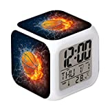 Cointone Led Alarm Clock Basketball Fire Design Creative Desk Table Clock Glowing Electronic Colorful Digital Alarm Clock for Unisex Adults Kids Toy Birthday Present