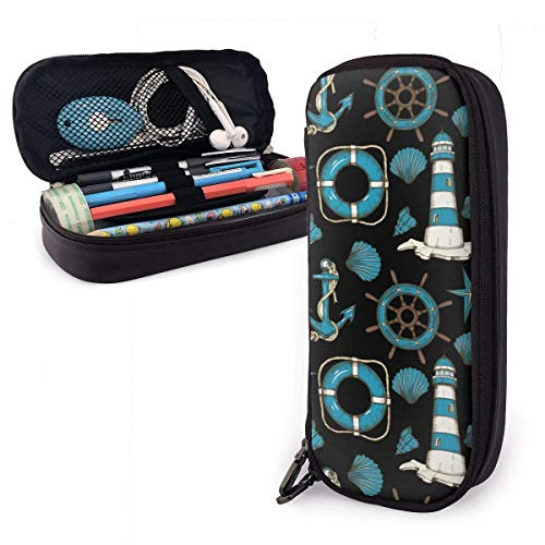Pencil Case Pen Bag Cartoon Nauitcal Objects Tools Blue Pattern Pencil Case, Large Capacity Pen Case Pencil Bag Stationery Pouch Pencil Holder Pouch with Big Compartments