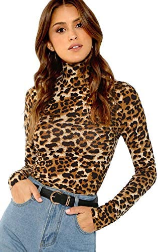 SheIn Women s High Neck Slim Fit Party Leopard Print Long Sleeve Top Shirt Large Leopard product image