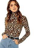 SheIn Women's High Neck Slim Fit Party Leopard Print Long Sleeve Top Shirt Medium Leopard