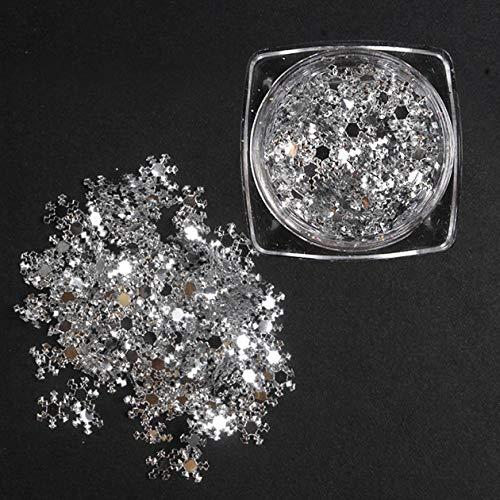 Nowakk 1 boîte de décoration d'art d'ongle Ultra Mince Flocon de Neige 3D tranches Blanches Paillettes pièce 15g Accessoires de manucure, Argent