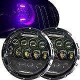 HOZAN JK Headlights,7 Inch 75W Round LED Headlights with Purple Halo DRL High Low Beam for Jeep Wrangler JK TJ CJ LJ Sahara Rubicon Hummer H2