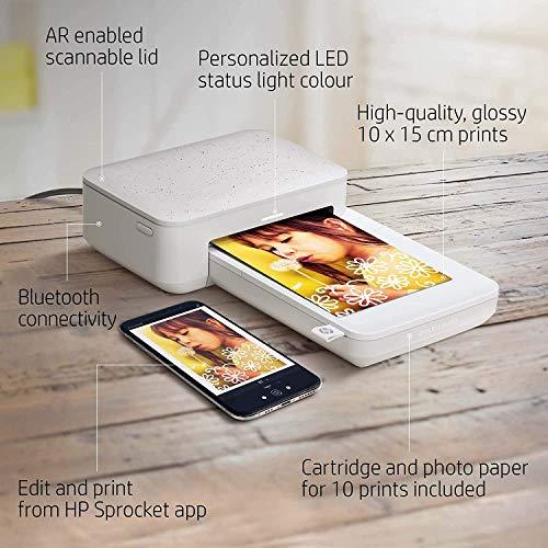 HP Sprocket Studio Impresora instantánea 10 x 15 cm (Blanca) Imprima fotos desde sus dispositivos iOS, Android y redes sociales, EU Plug