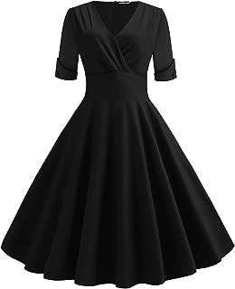 WERIDEDIRT Women's 1950s Vintage Deep V Neck Half Sleeve Retro Cocktail Swing Dress