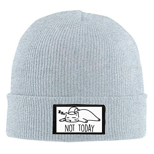 JONINOT Not Today Cat Winter Knitted Hat Reloj de Lana Sombrero Fur Skull Cold Warm Hat Hombres y Mujeres