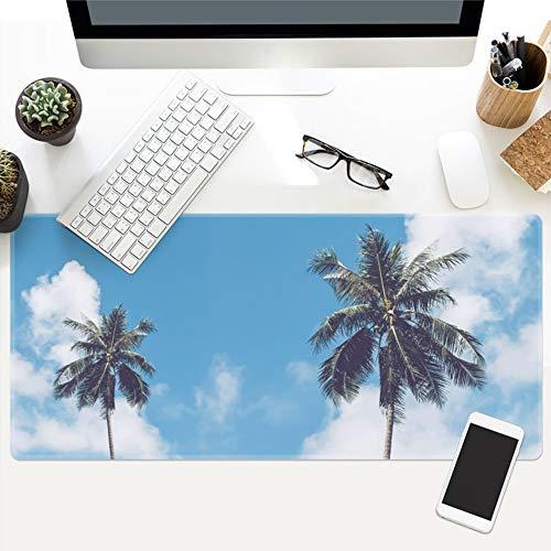 Muismat voor de zomer, vers, blauw, kokosnoot, plant, oversized, waterdicht, gevoerd, muismat, toetsenbord, meubel, kantoor, studenten, tafel, cadeau 40x90cm