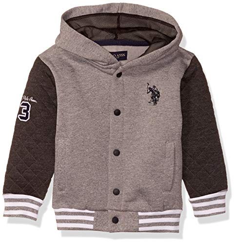 U.S. Polo Assn. Toddler Boys' Hooded Zip or Snap Fleece Jacket, Track Quilt Marled Light Grey, 3T